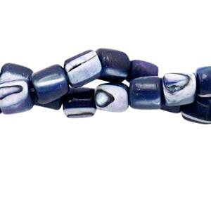 Schelp kraal tube blue purple 4x3.5mm