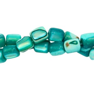 Schelp kraal tube blue zircon 4x3.5mm