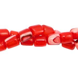 Schelp kraal tube fiery red 4x3.5mm