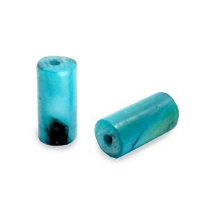 Schelpkraal tube licht petrol blauw 8x4mm
