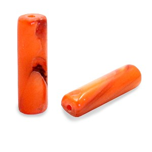 Schelpkraal tube royal oranje 14x4mm