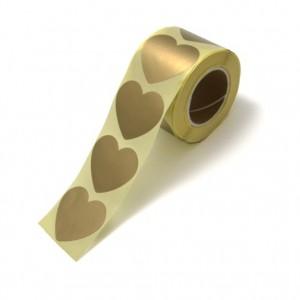 Sluitstickers 50mm golden hearts (per 5 stuks)