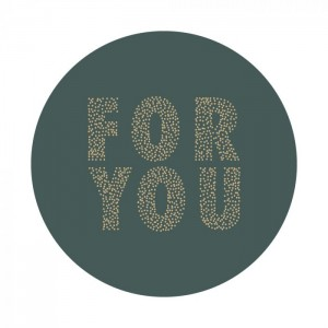 Sluitstickers 55mm 'For you' petrol (per 5 stuks)