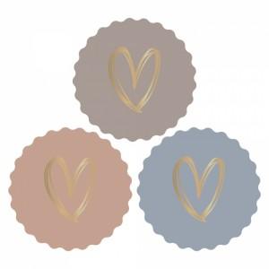 Sluitstickers 55mm multi - heart gold - autumn (per 5 stuks)