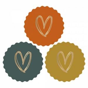 Sluitstickers 55mm multi - heart gold - bright (per 5 stuks)