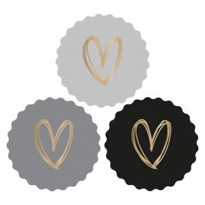 Sluitstickers 55mm multi - heart gold dark (per 5 stuks)