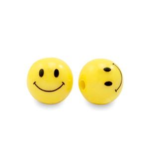 smiley kraal acryl rond 8mm geel (per 5 stuks)