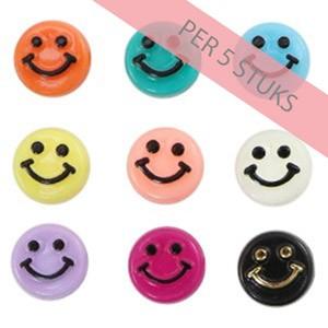 smiley kraal rond 10mm multi color per 5 stuks