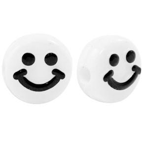 smiley kraal rond 10mm wit zwart (per stuk)