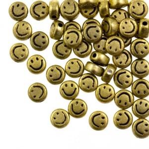 smiley kraal rond 7mm goud