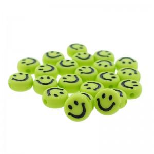 smiley kraal rond 7mm lime groen (per stuk)