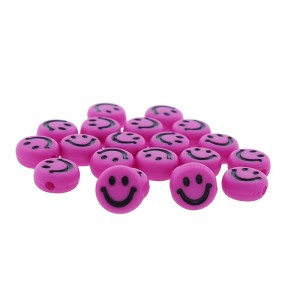 smiley kraal rond 7mm magenta (per stuk)