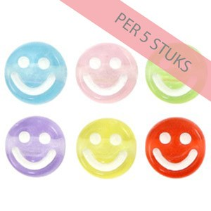 Smiley kraal rond 7mm multi color transparant per 5 stuks