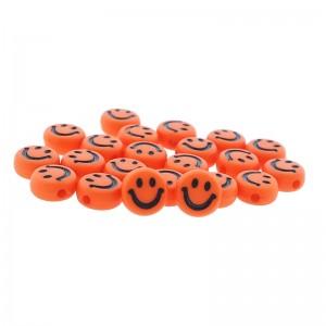 smiley kraal rond 7mm oranje (per stuk)