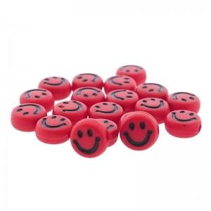 smiley kraal rond 7mm rood (per stuk)