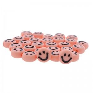 Smiley kraal rond 7mm roze (per stuk)