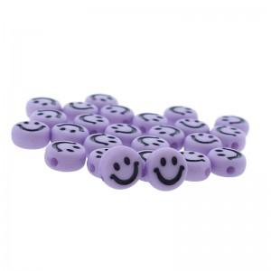 smiley kraal rond 7mm violet (per stuk)