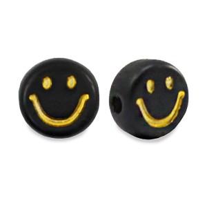 smiley kraal rond 7mm zwart goud per stuk