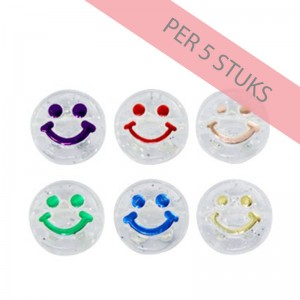 smiley kralen rond 10mm transparant multicolor (per 5 stuks)