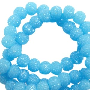 Sparkling beads sky blue 6mm
