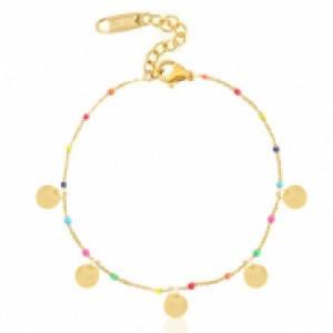 Stainless steel armband coin rainbow goud