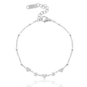 Stainless steel armband heart & star zilver