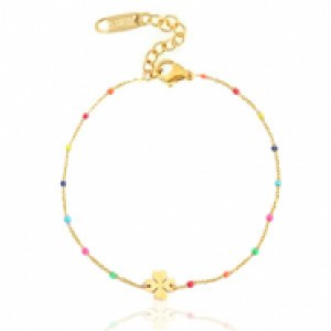 Stainless steel armband klaver rainbow goud