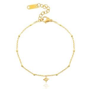 Stainless steel armband lucky star goud