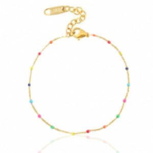 Stainless steel armband rainbow goud