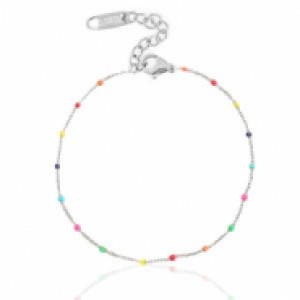 Stainless steel armband rainbow zilver