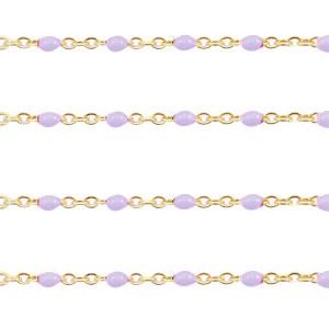 Stainless steel balletjes jasseron 1mm lila-goud per 20cm