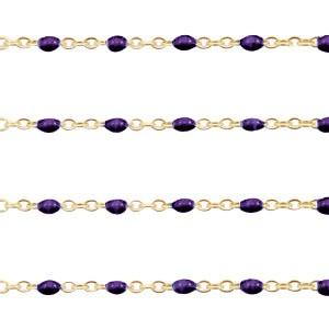 Stainless steel balletjes jasseron 1mm paars-goud per 20cm