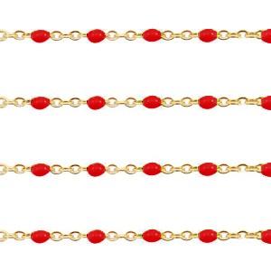 Stainless steel balletjes jasseron 1mm rood-goud per 20cm