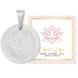 Stainless steel bedel birth flower july water lily rond 15mm zilver