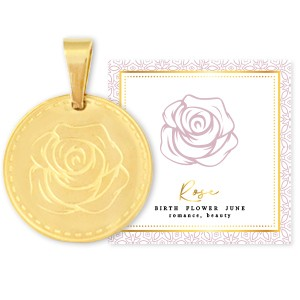 Stainless steel bedel birth flower june rose rond 15mm goud
