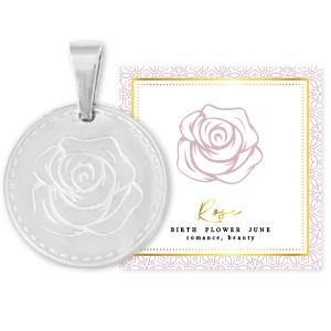 Stainless steel bedel birth flower june rose rond 15mm zilver