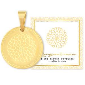 Stainless steel bedel birth flower november chrysant rond 15mm goud