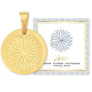 Stainless steel bedel birth flower september aster rond 15mm goud
