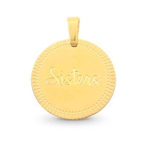 Stainless steel bedel sister rond 15mm goud