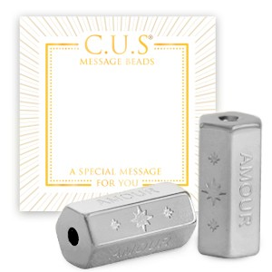 Stainless steel C.U.S® message beads amour & stars zilver 15x8mm per stuk