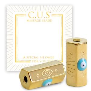Stainless steel C.U.S® message beads evil eye goud 15x8mm per stuk