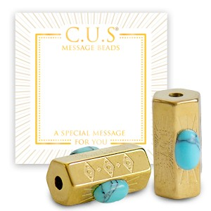 Stainless steel C.U.S® message beads love goud 15x8mm per stuk