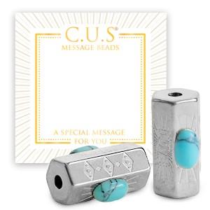 Stainless steel C.U.S® message beads love zilver 15x8mm per stuk