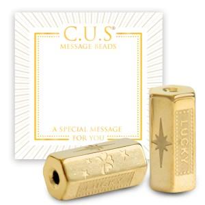 Stainless steel C.U.S® message beads lucky & clover goud 15x8mm per stuk