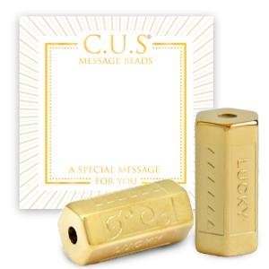 Stainless steel C.U.S® message beads lucky goud 15x8mm per stuk
