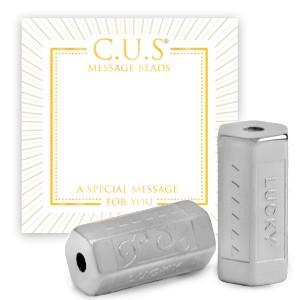 Stainless steel C.U.S® message beads lucky zilver 15x8mm per stuk