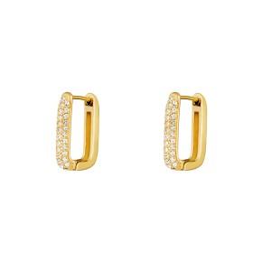 Stainless steel creolen rectangle shimmer spark goud 20mm per paar