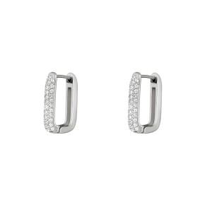 Stainless steel creolen rectangle shimmer spark zilver 20mm per paar
