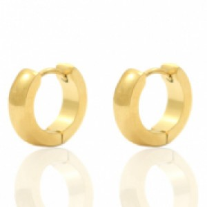 Stainless steel creool oorring bol goud 13mm