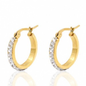 Stainless steel creool oorring strass goud 20mm